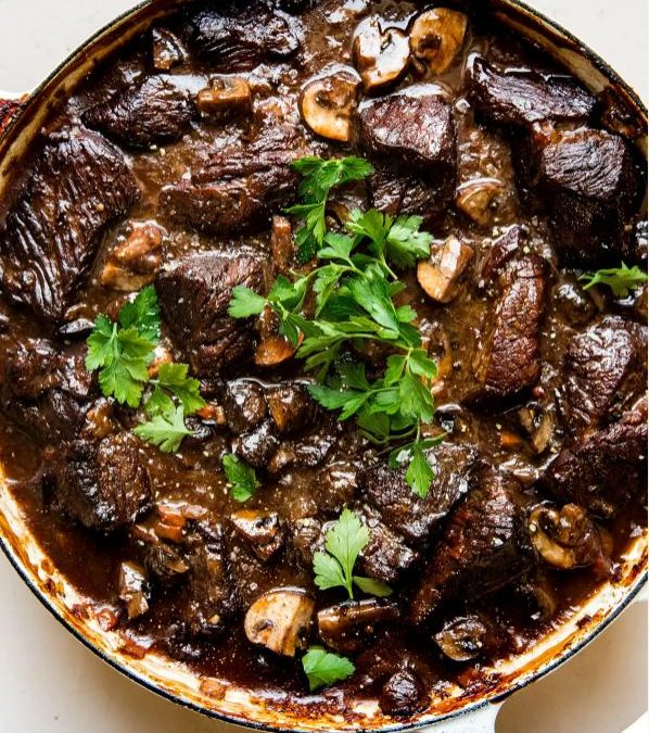 Wine Braised Beef with Mushrooms