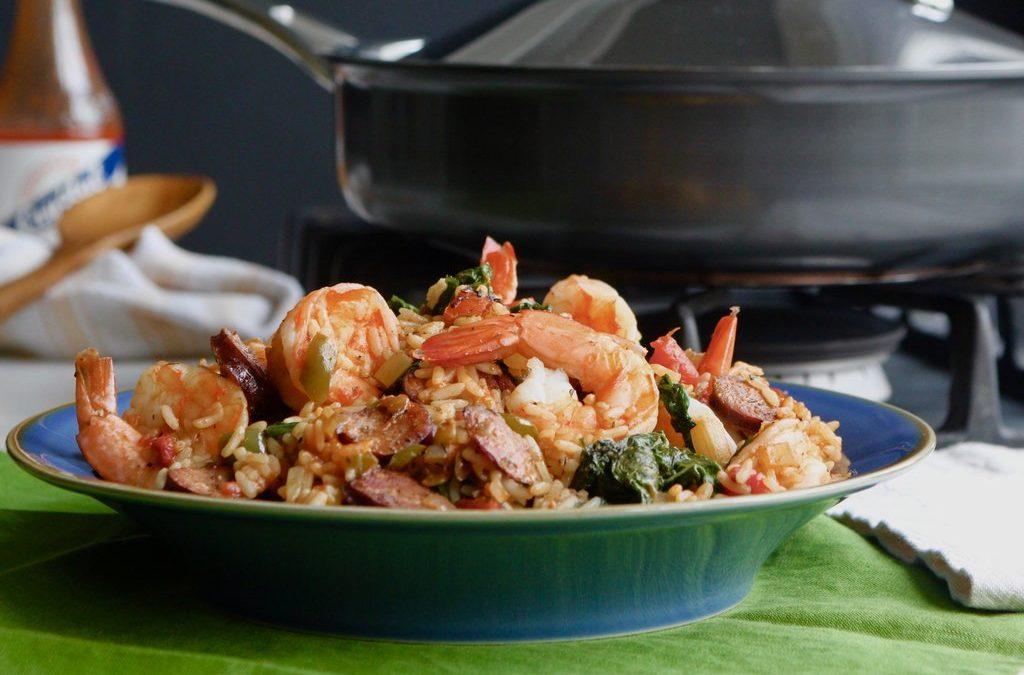 Spicy Mustard Greens, Shrimp and Andouille Jambalaya