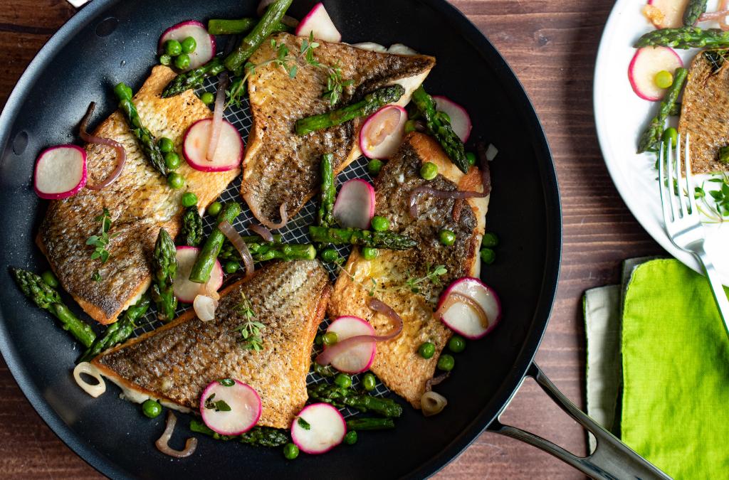 Striped Bass with Asparagus Tips, Peas, Radishes and Meyer Lemon Vinaigrette