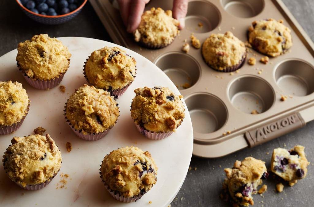 Blueberry Walnut Streusel Muffins